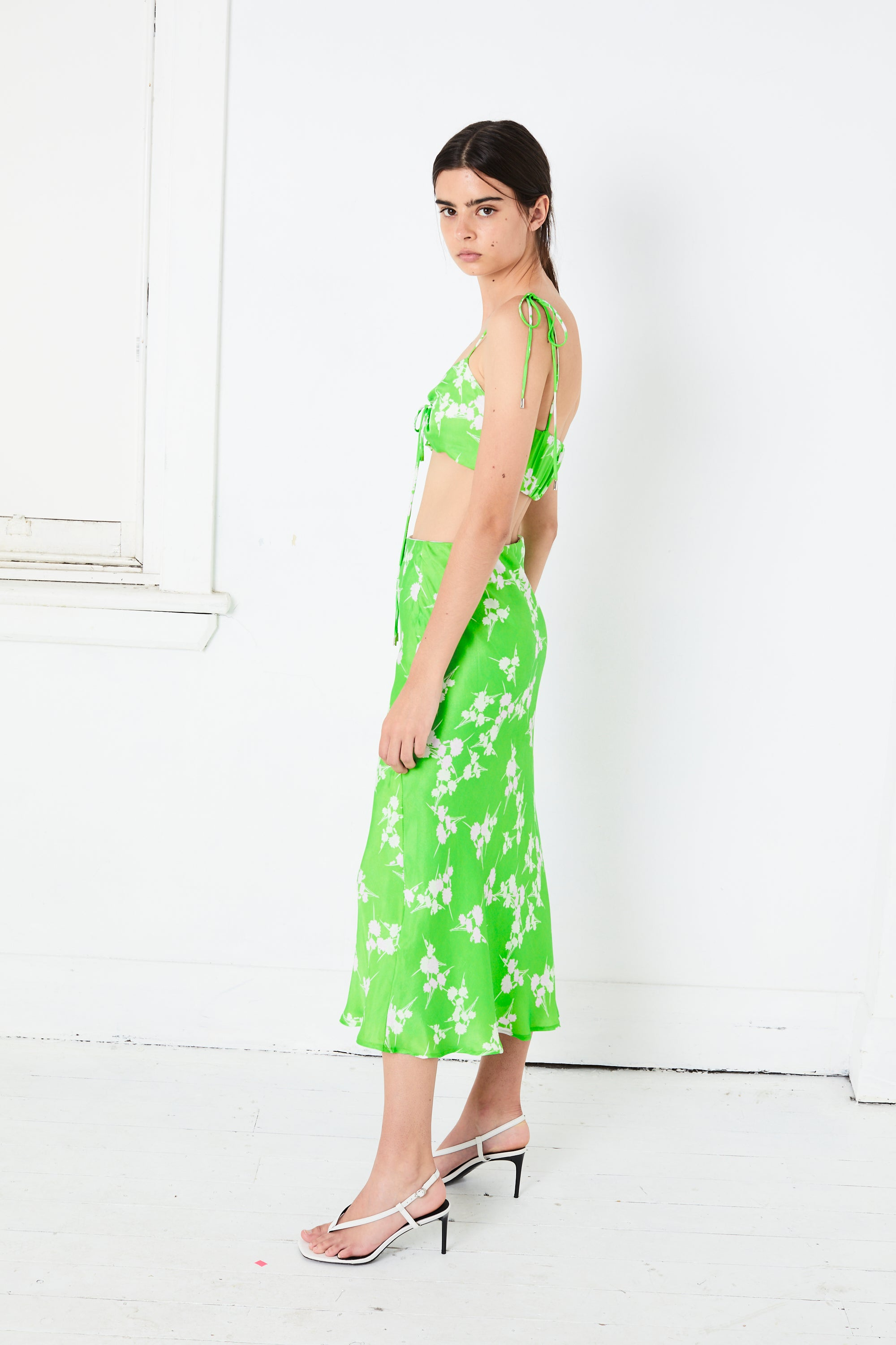 ROLLING FIELDS BIAS MIDI SKIRT | GREEN GRASS