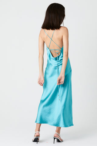 LACE BACK BIAS SLIP DRESS | AQUA