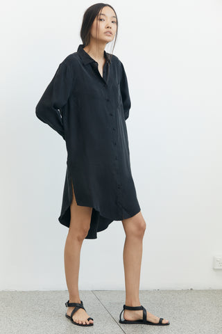 SHADOW PLAY OVERSIZED SHIRT DRESS | BLACK