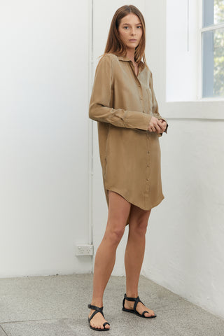 SHADOW PLAY OVERSIZED SHIRT DRESS | CLAY