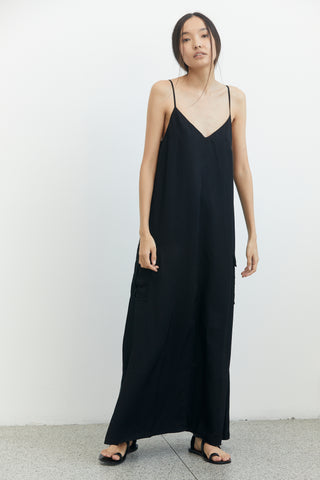 LIFT OFF MAXI SLIP DRESS | BLACK