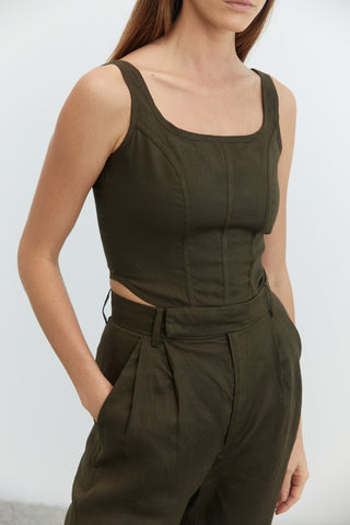 TAPPER IN CORSET CAMI | ARMY