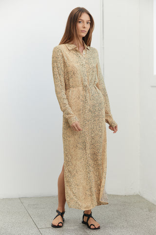 ANIMAL INSTINCTS MAXI SHIRT DRESS | SNAKE