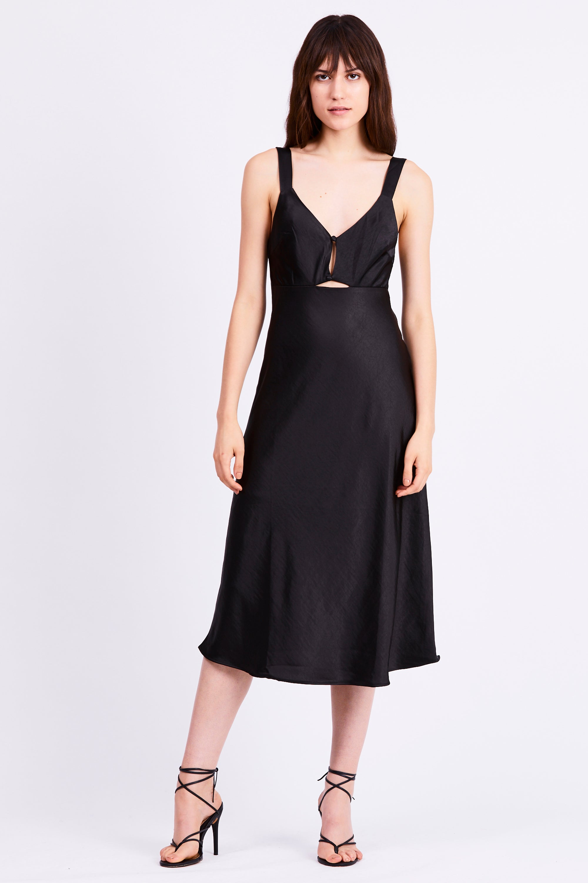 INTRIGUE BIAS SLIP DRESS | BLACK SATEEN