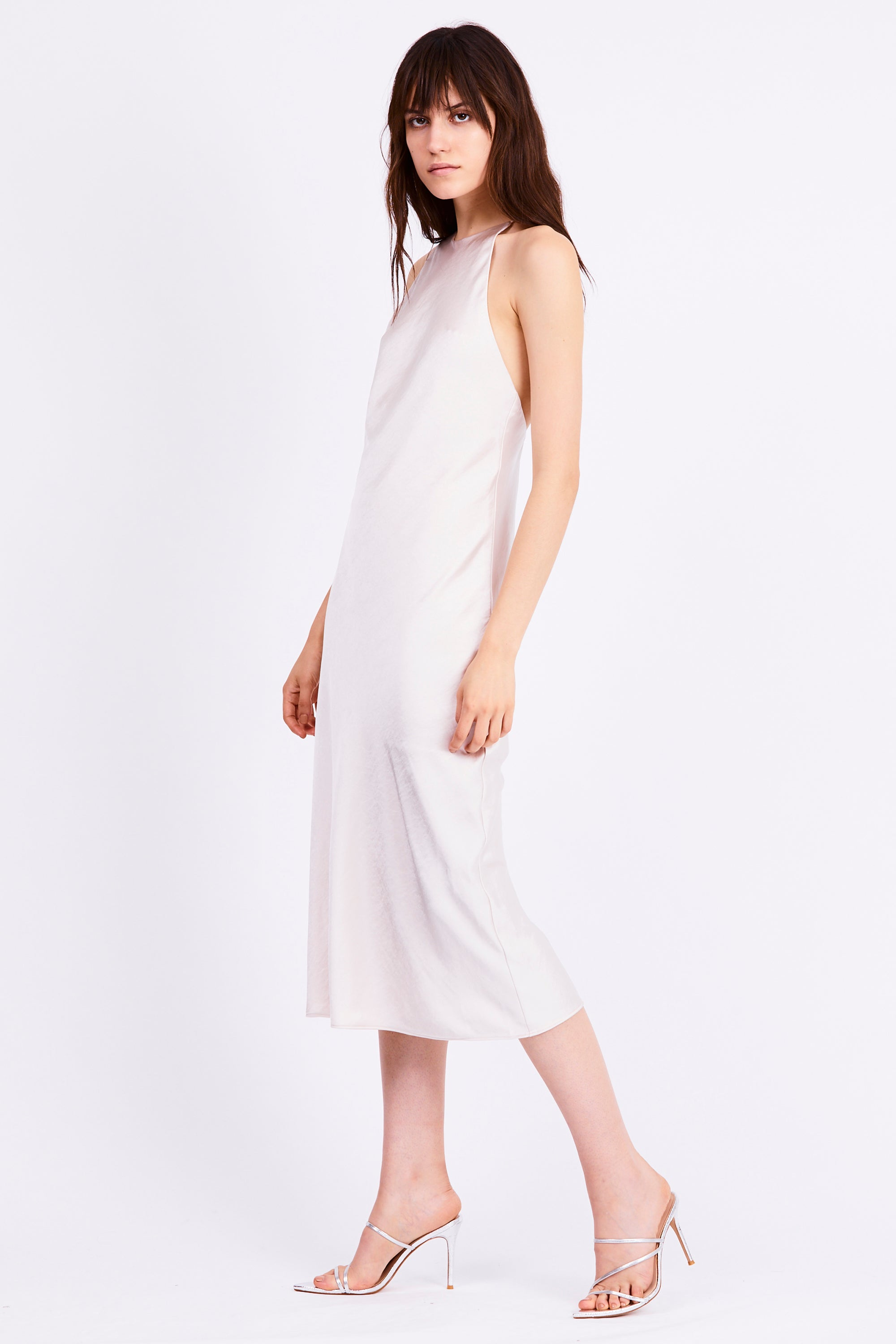 BIAS HIGH NECK DRESS | PEARL