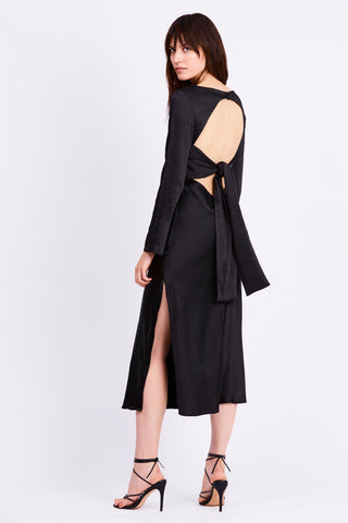 TIE BACK MAXI  BIAS DRESS | BLACK