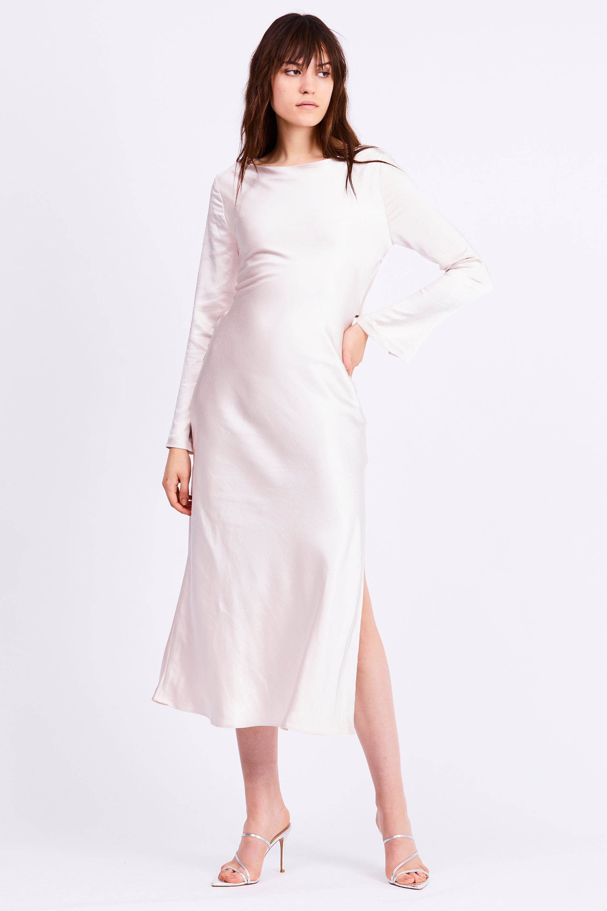 TIE BACK MAXI BIAS DRESS | PEARL