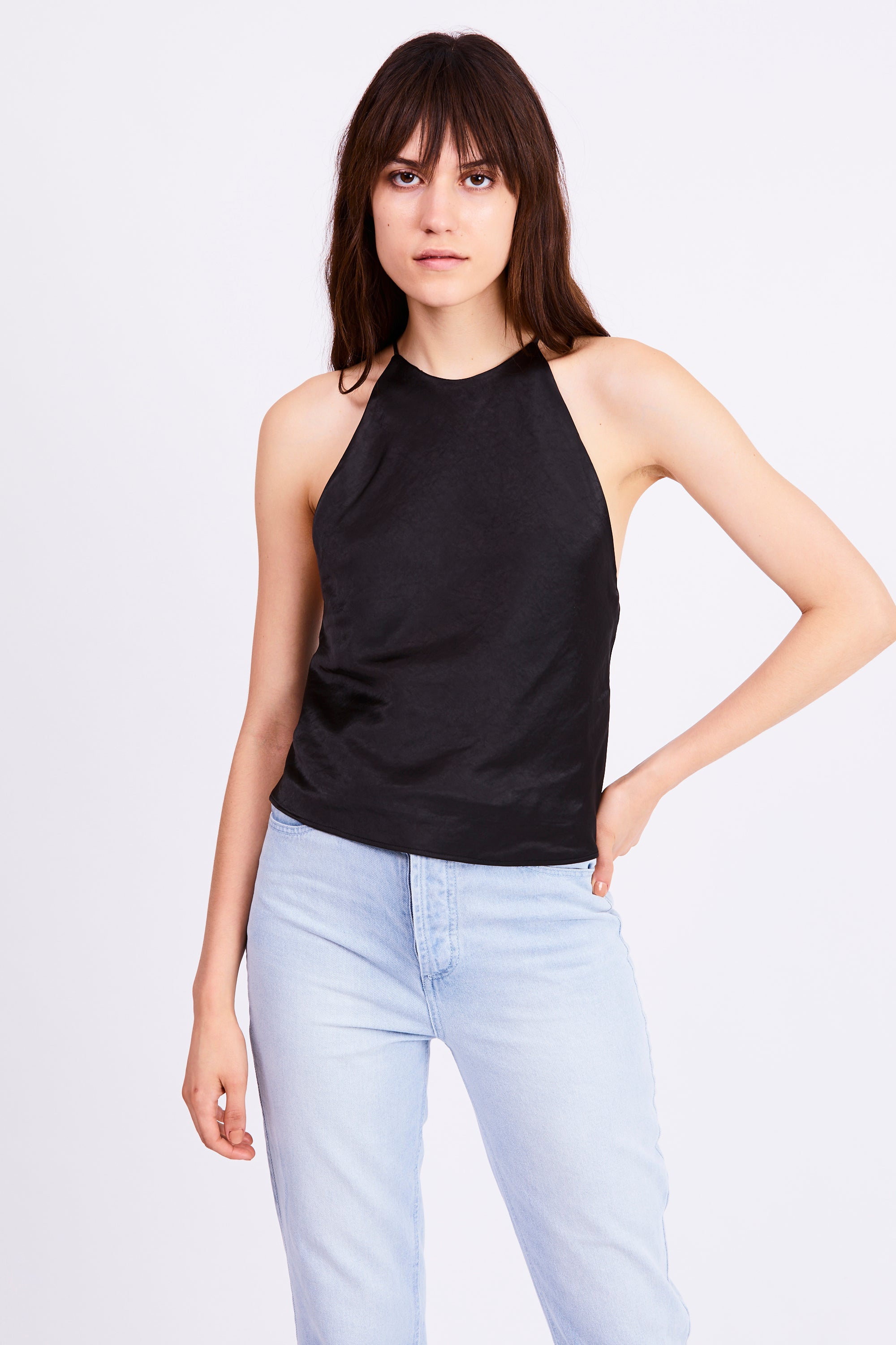 BIAS HIGH NECK CAMI | BLACK