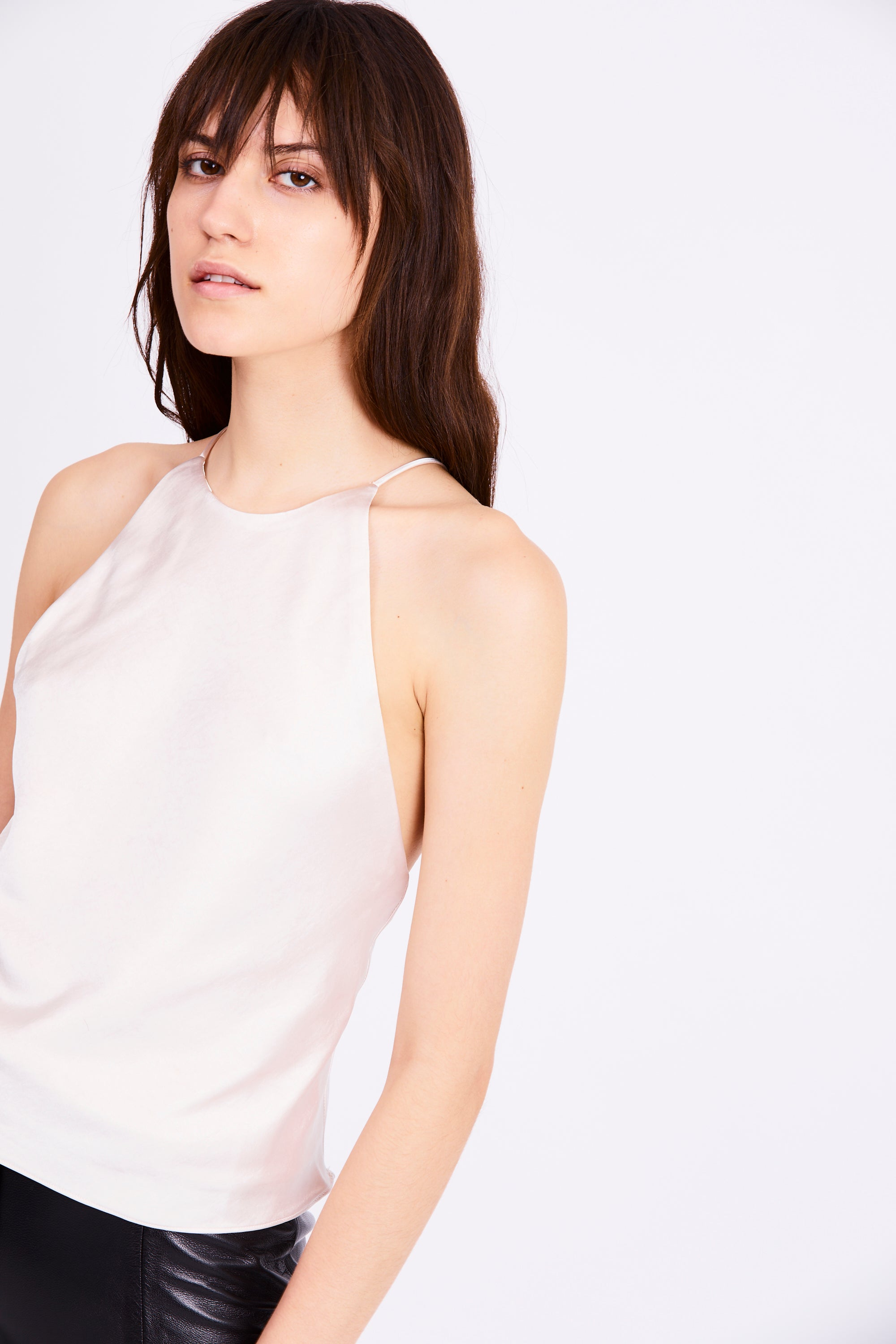 BIAS HIGH NECK CAMI | PEARL