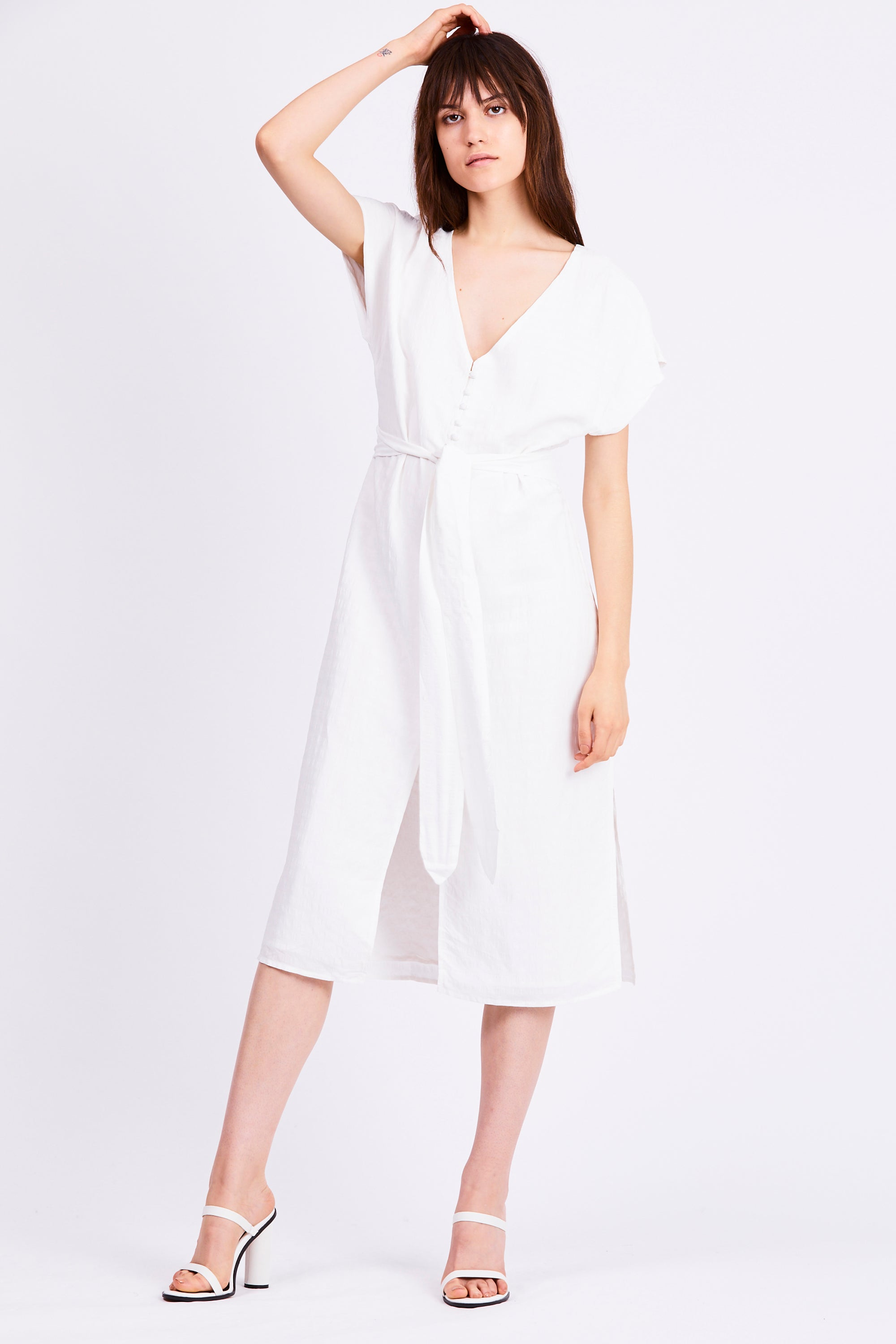 DAY BREAK TIE FRONT DRESS | WHITE STRIPE