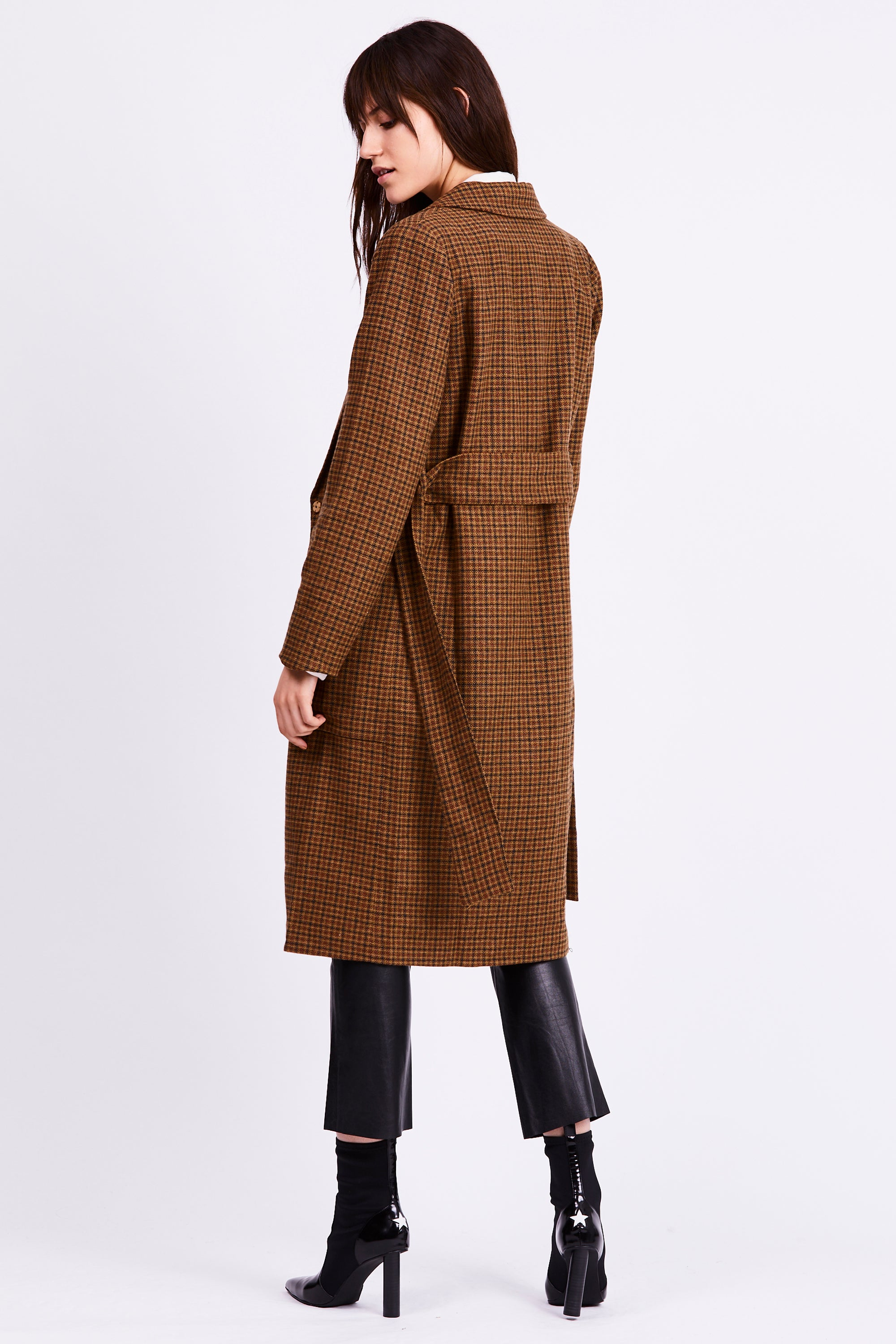 UNDER WRAPS WOOL COAT | TAN CHECK