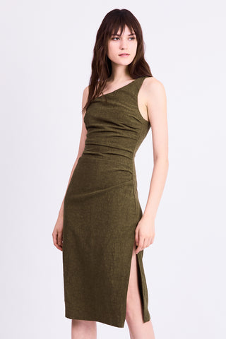 DRIFTER ONE SHOULDER DRESS | ARMY