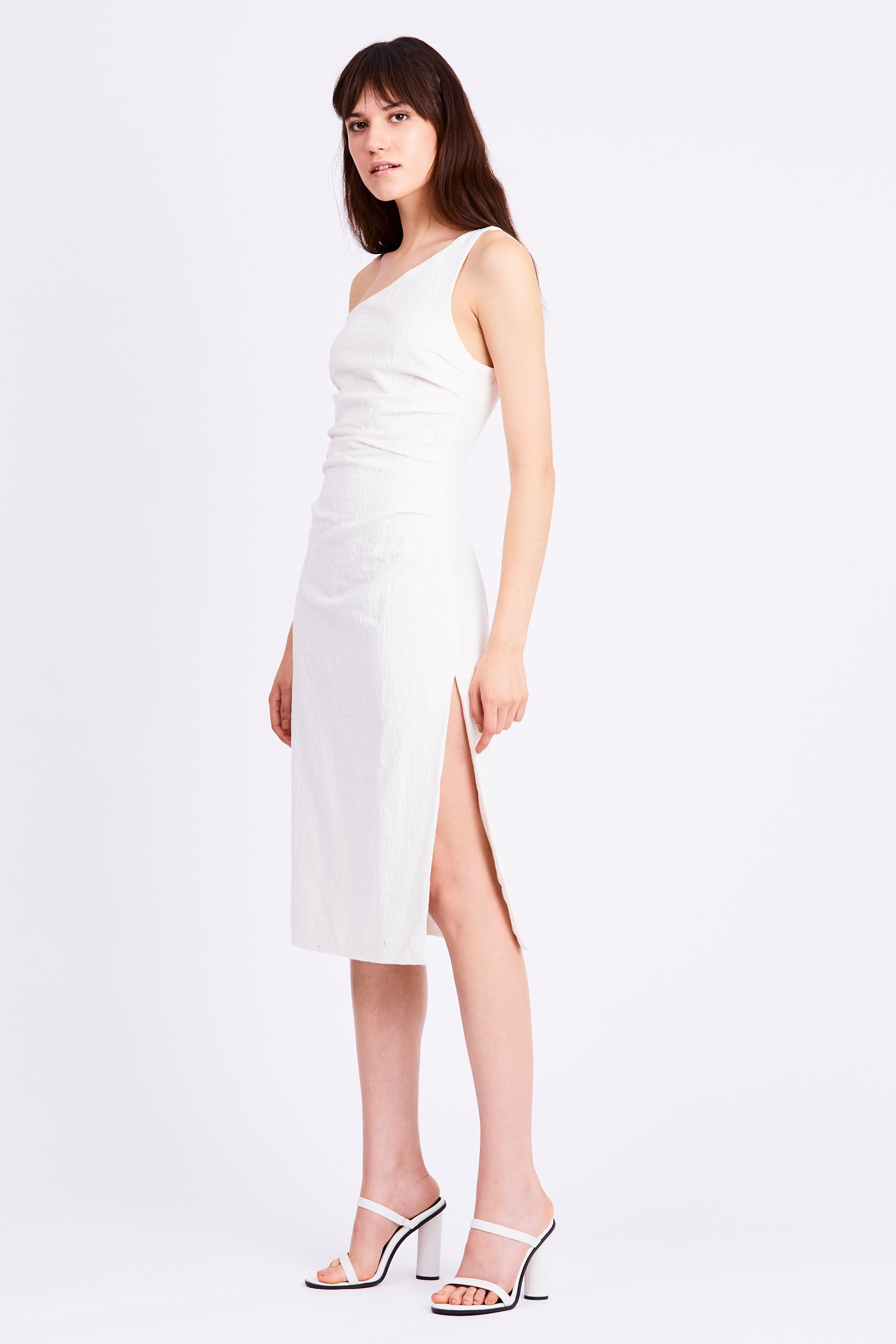DRIFTER ONE SHOULDER DRESS | WHITE