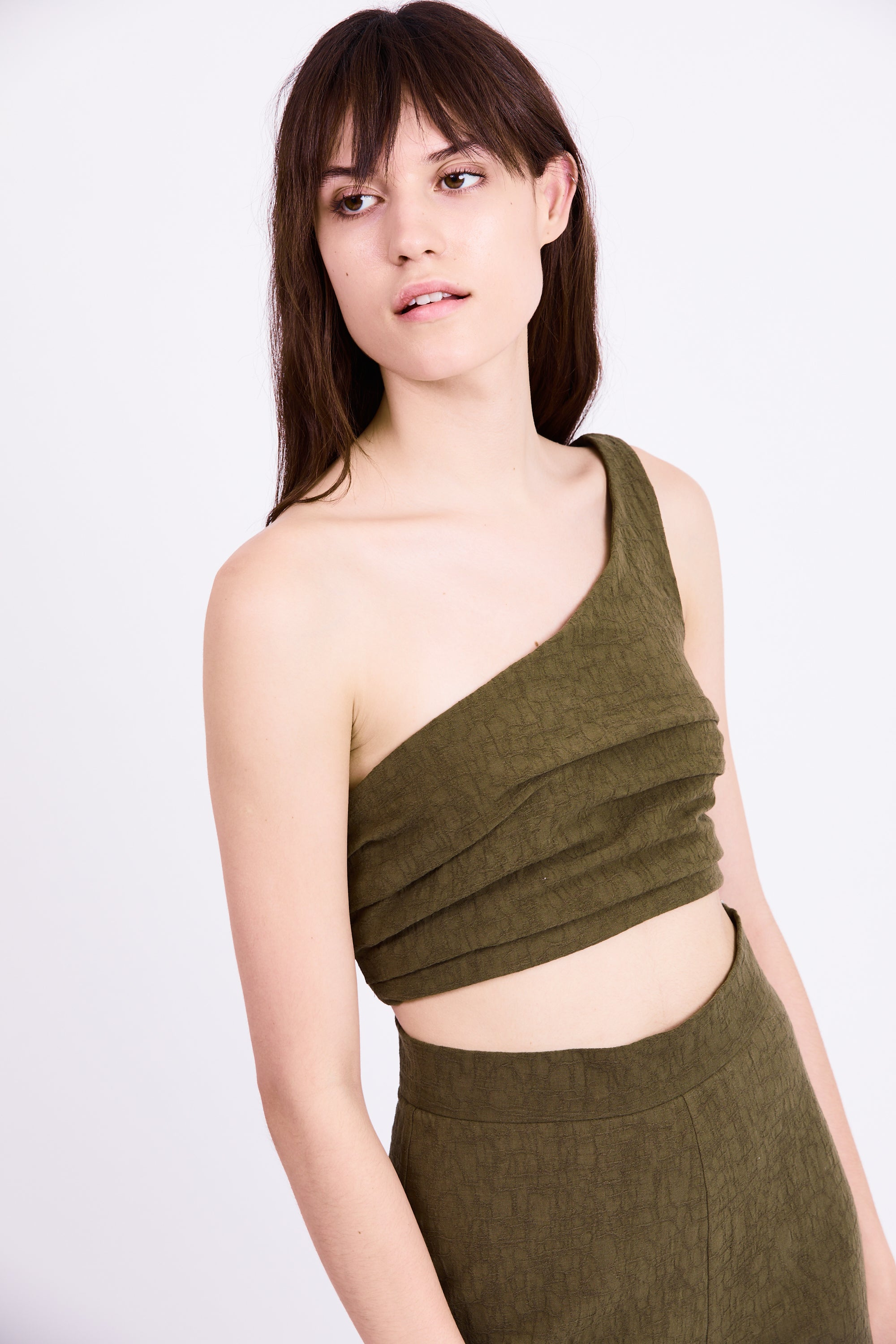 DRIFTER ONE SHOULDER TOP | ARMY