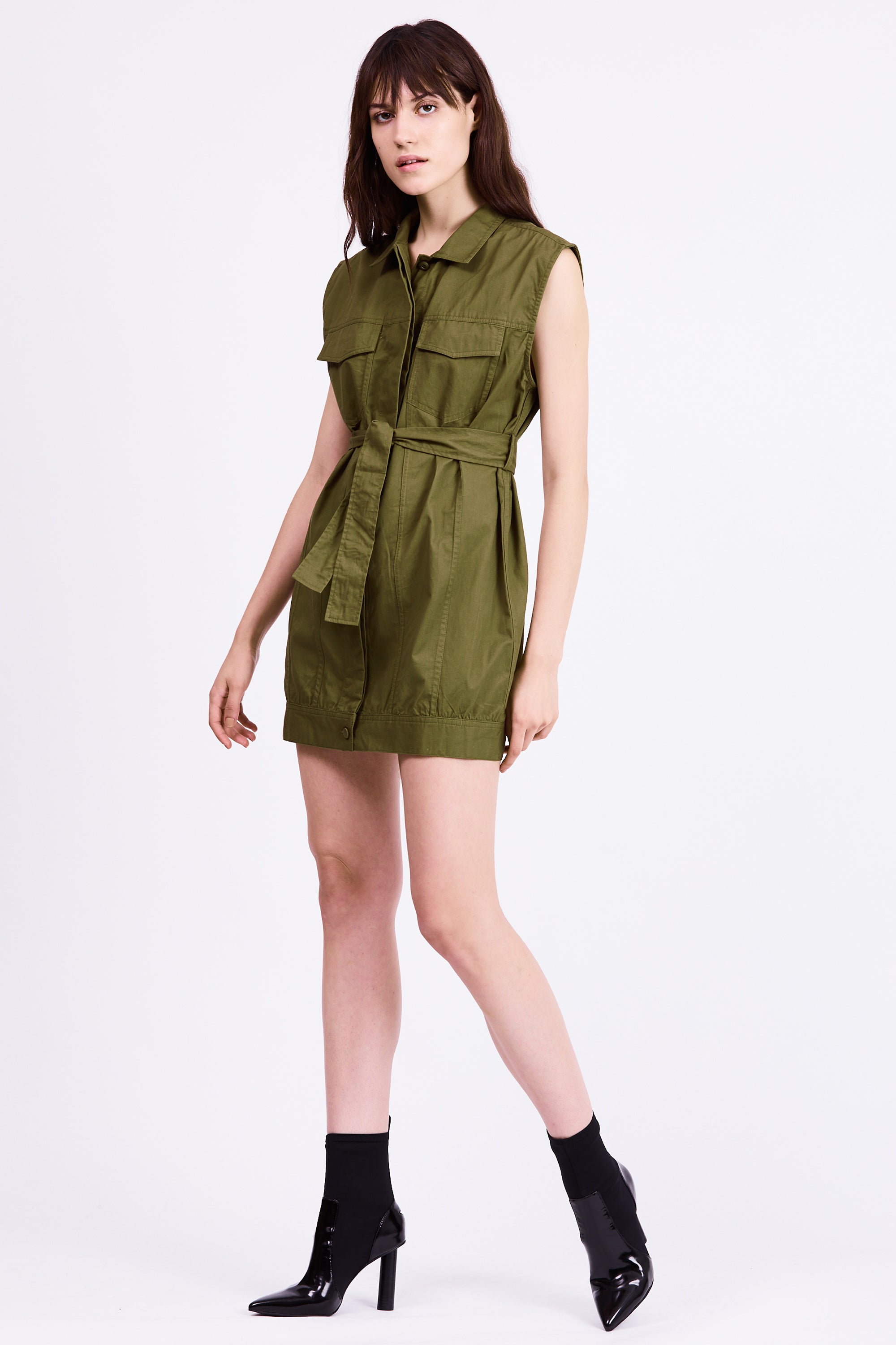 POCKET SHIRT DRESS | ARMY