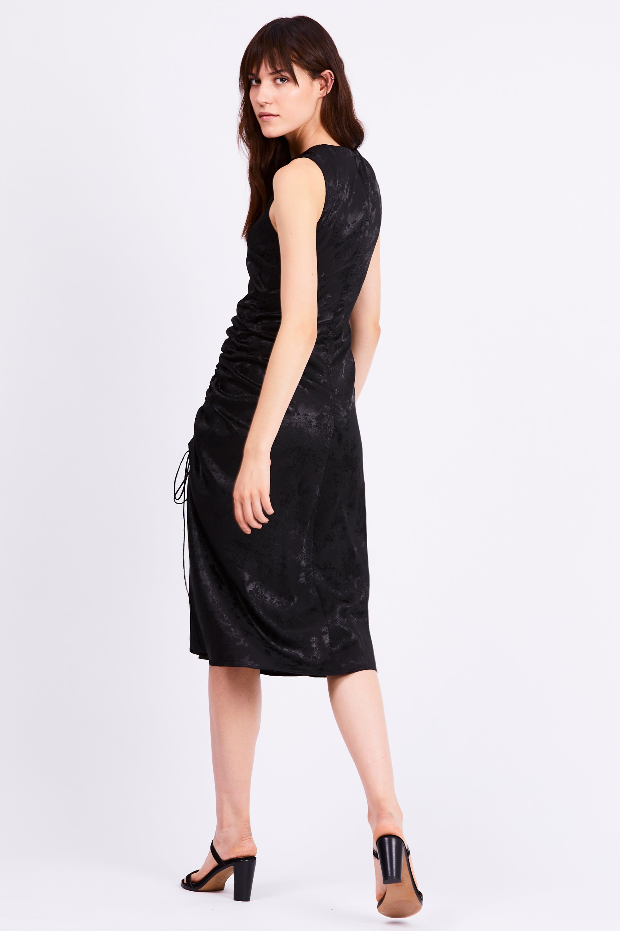 THE ORIENTAL DRAW UP MIDI DRESS | BLACK