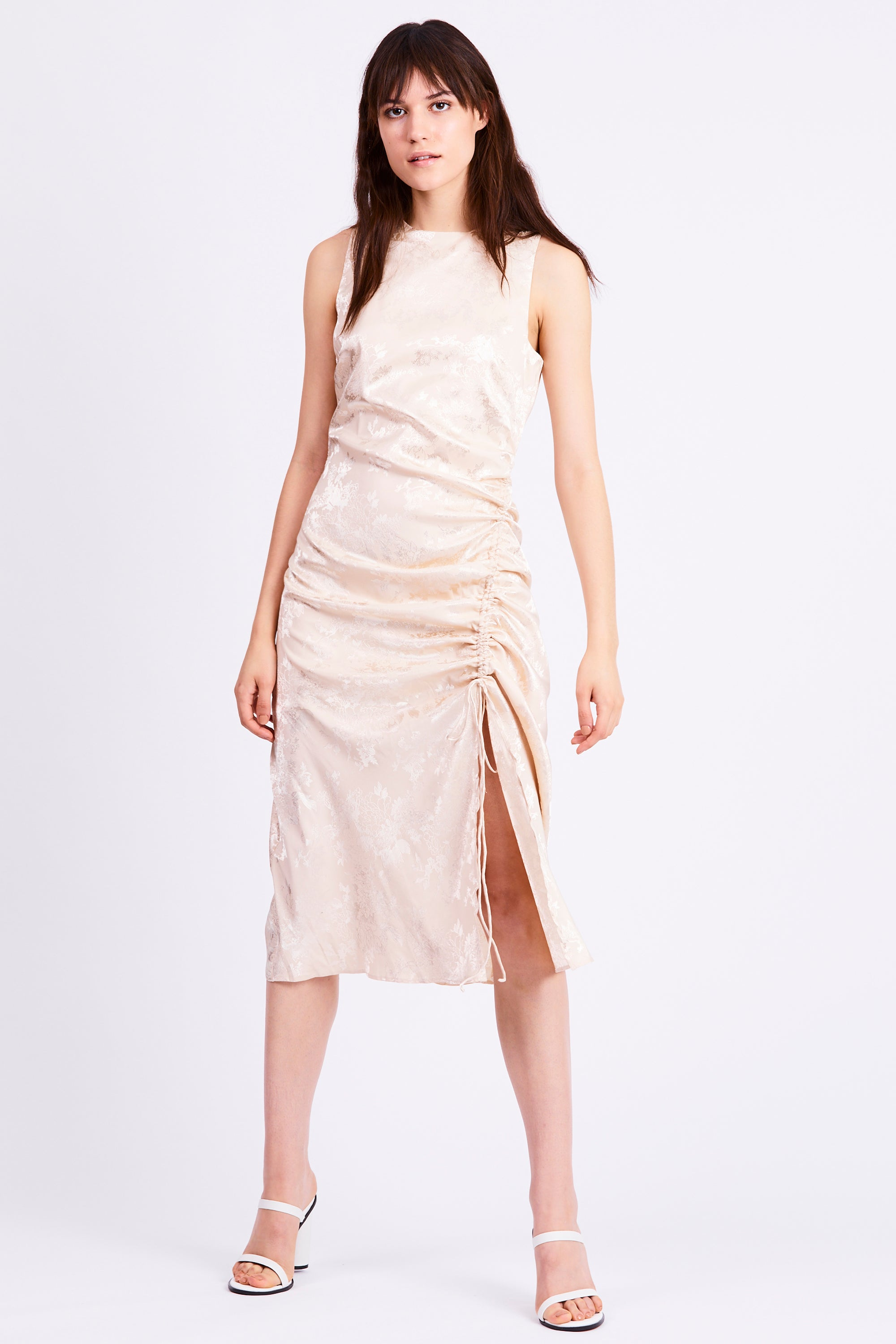 THE ORIENTAL DRAW UP MIDI DRESS | CREAM