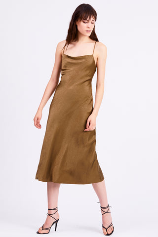 FINAL SAY BIAS SLIP DRESS | BRASS