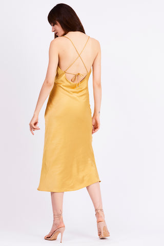 FINAL SAY BIAS SLIP DRESS | CANARY