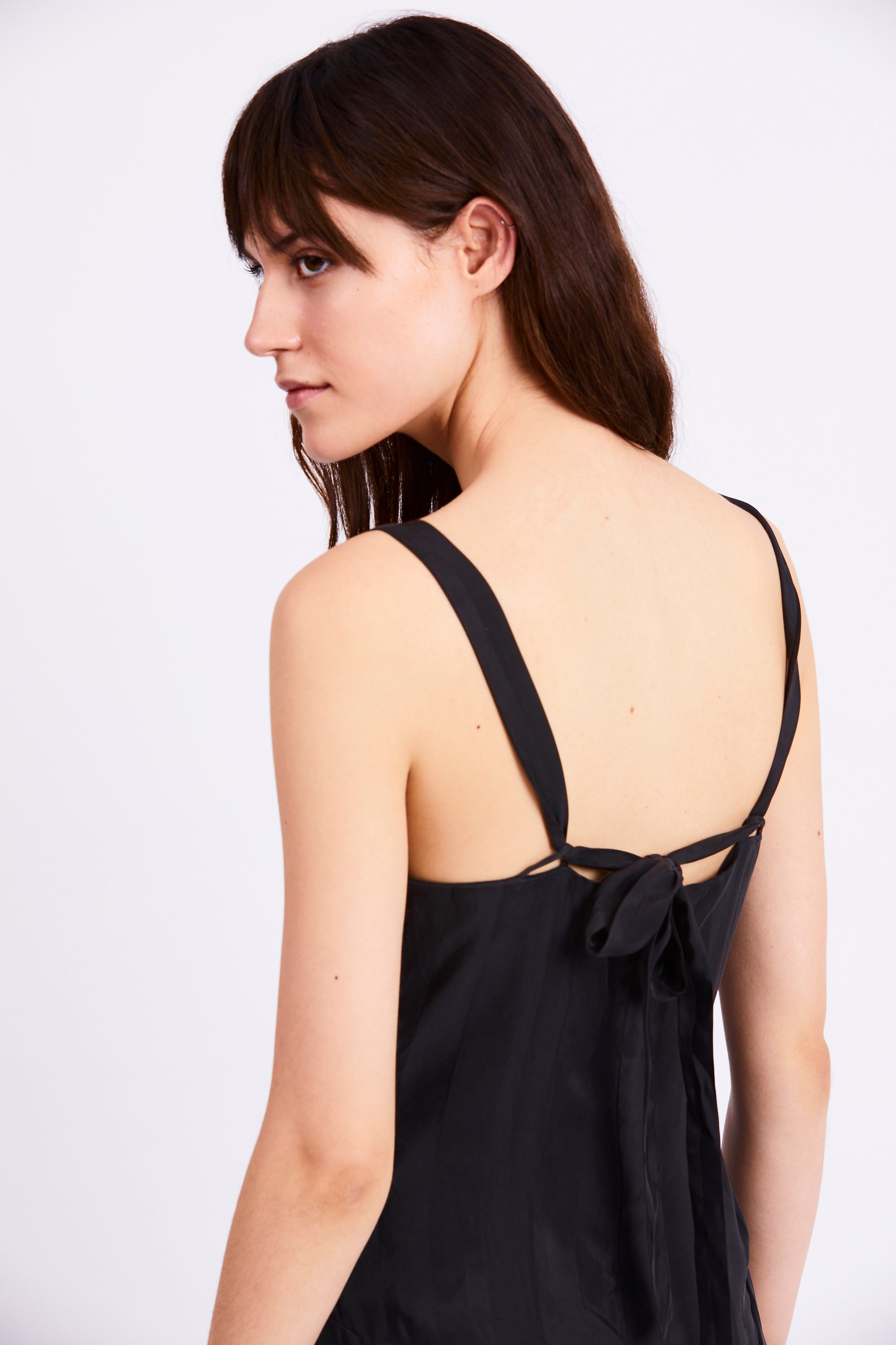 LOOPED IN SLIP DRESS | BLACK STRIPE