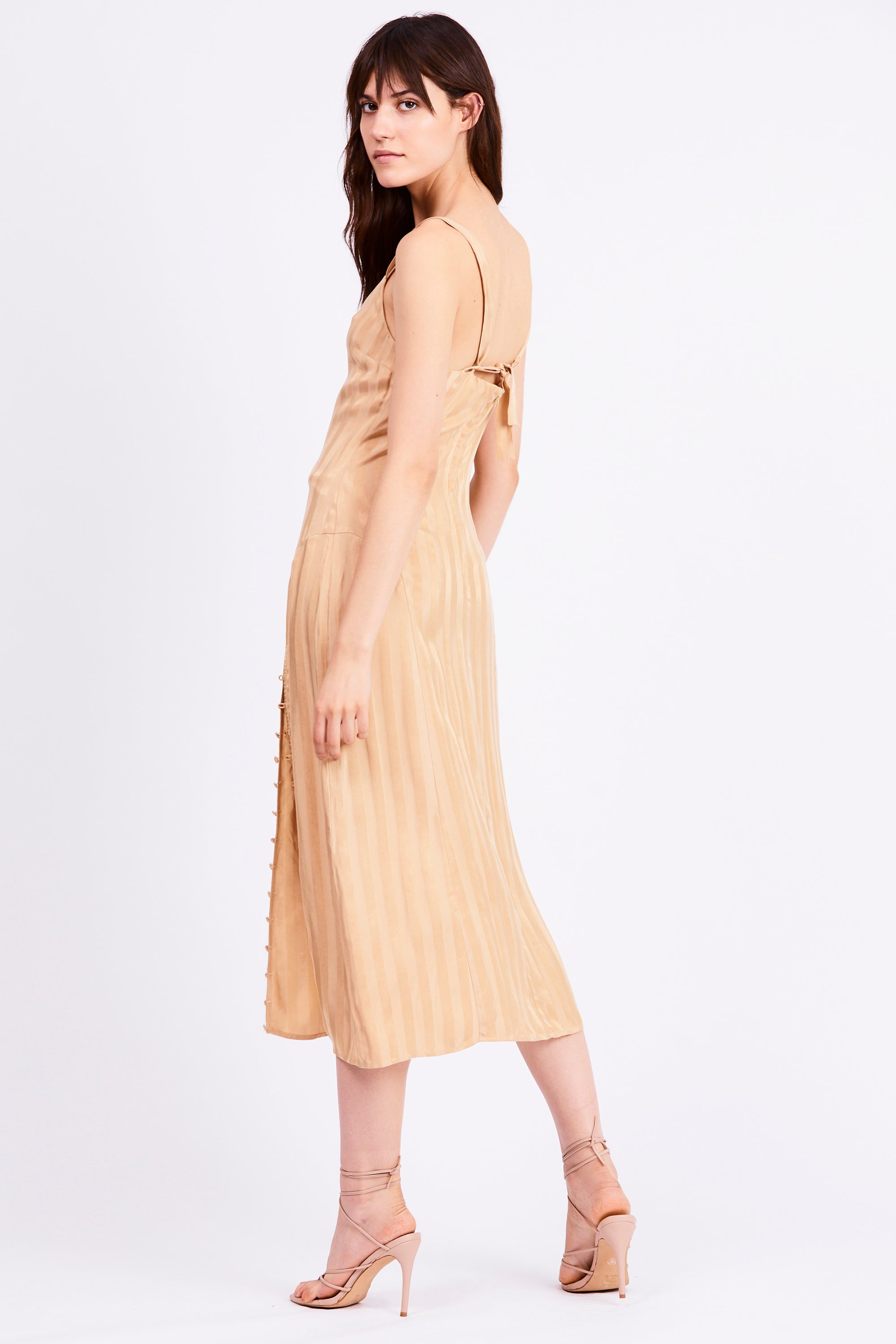 LOOPED IN SLIP DRESS | TAN STRIPE