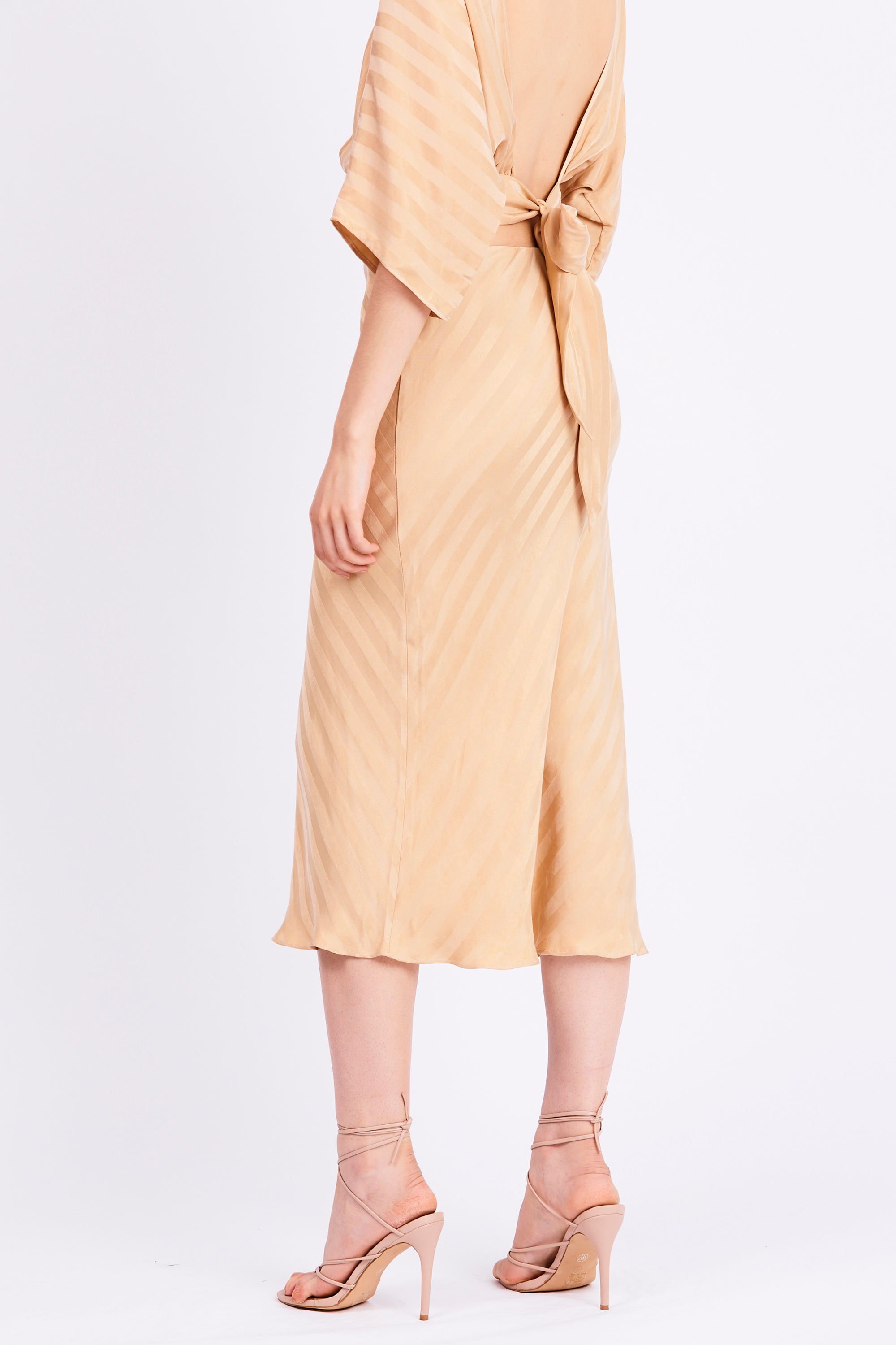 BIAS MIDI SKIRT | TAN STRIPE