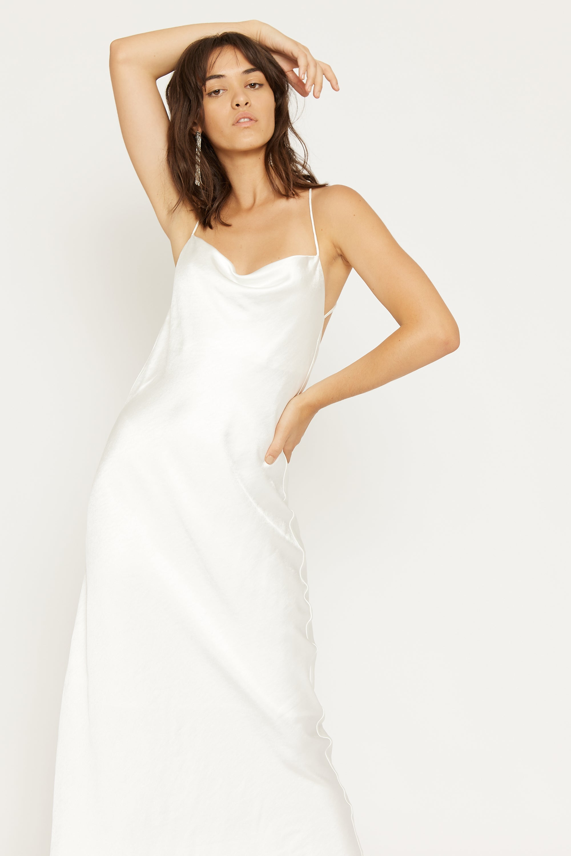 CROSS BACK COWL BIAS MAXI | OFF WHITE