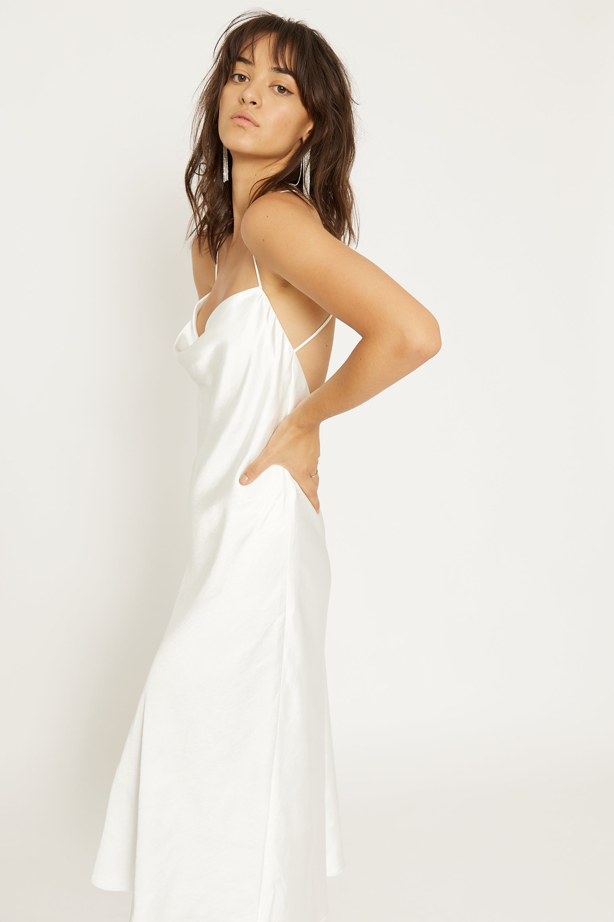 CROSS BACK COWL BIAS SLIP | OFF WHITE