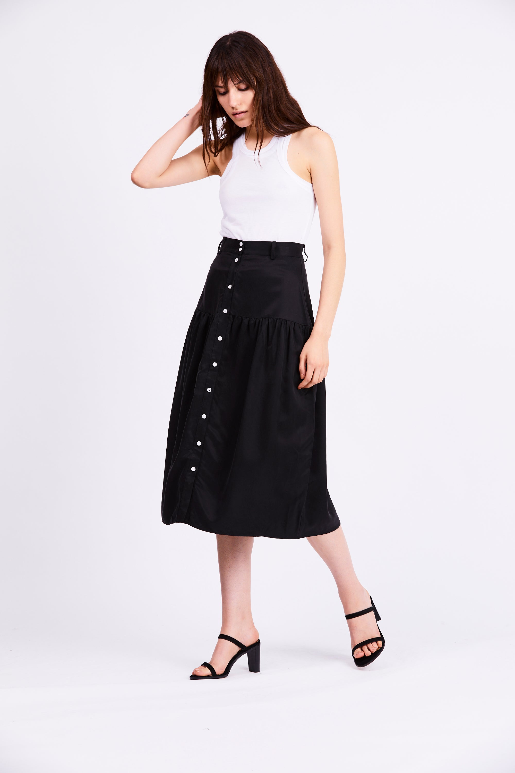 VICE VERSA MIDI SKIRT | BLACK