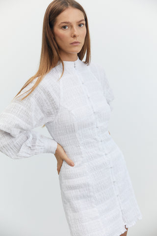 WHITEWASH BUTTON UP DRESS | WHITE