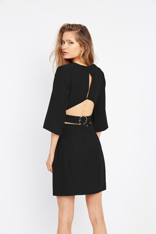ECLIPSE BUCKLE BACK TOP | BLACK