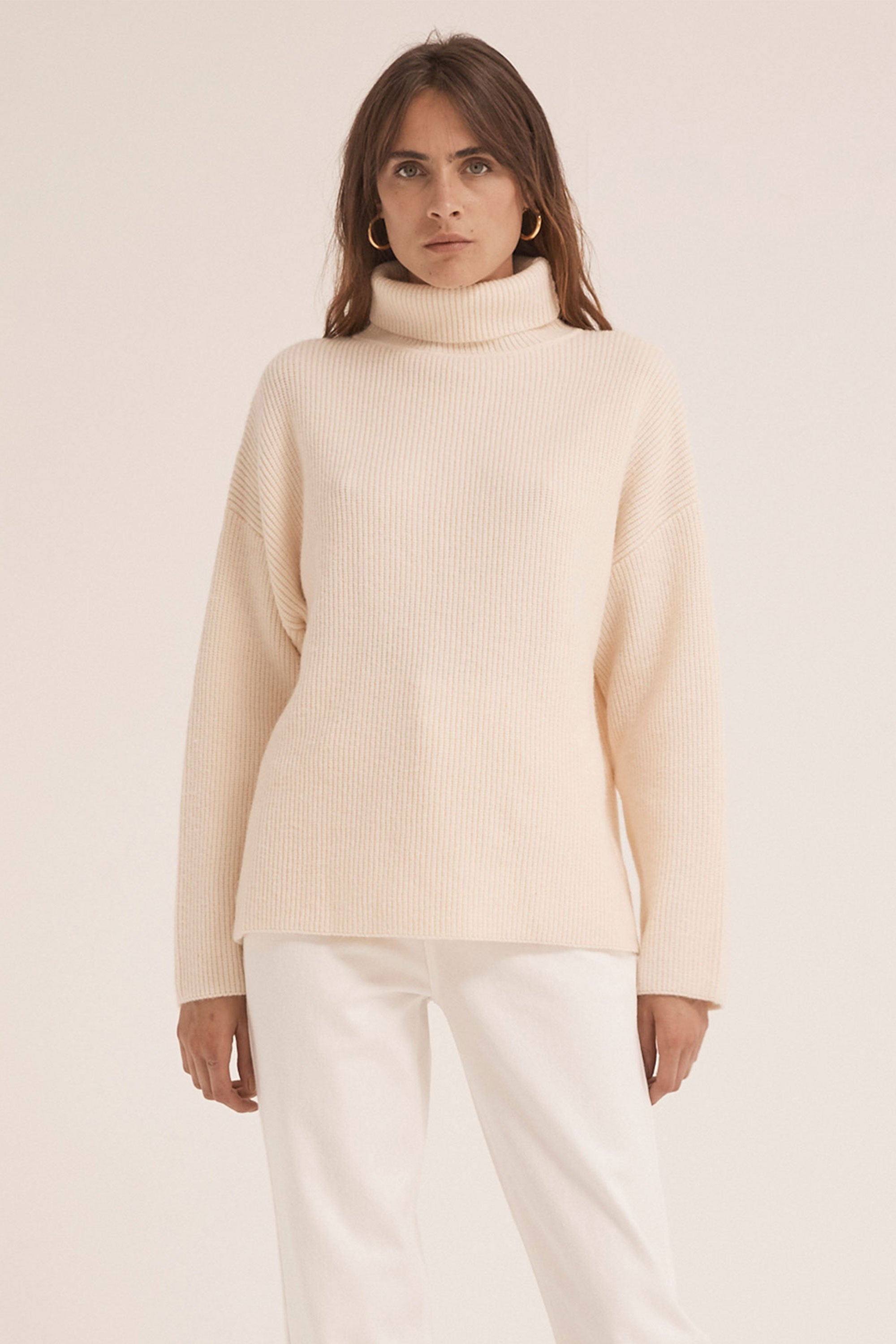 OVERSIZED KNIT TURTLENECK | CREAM