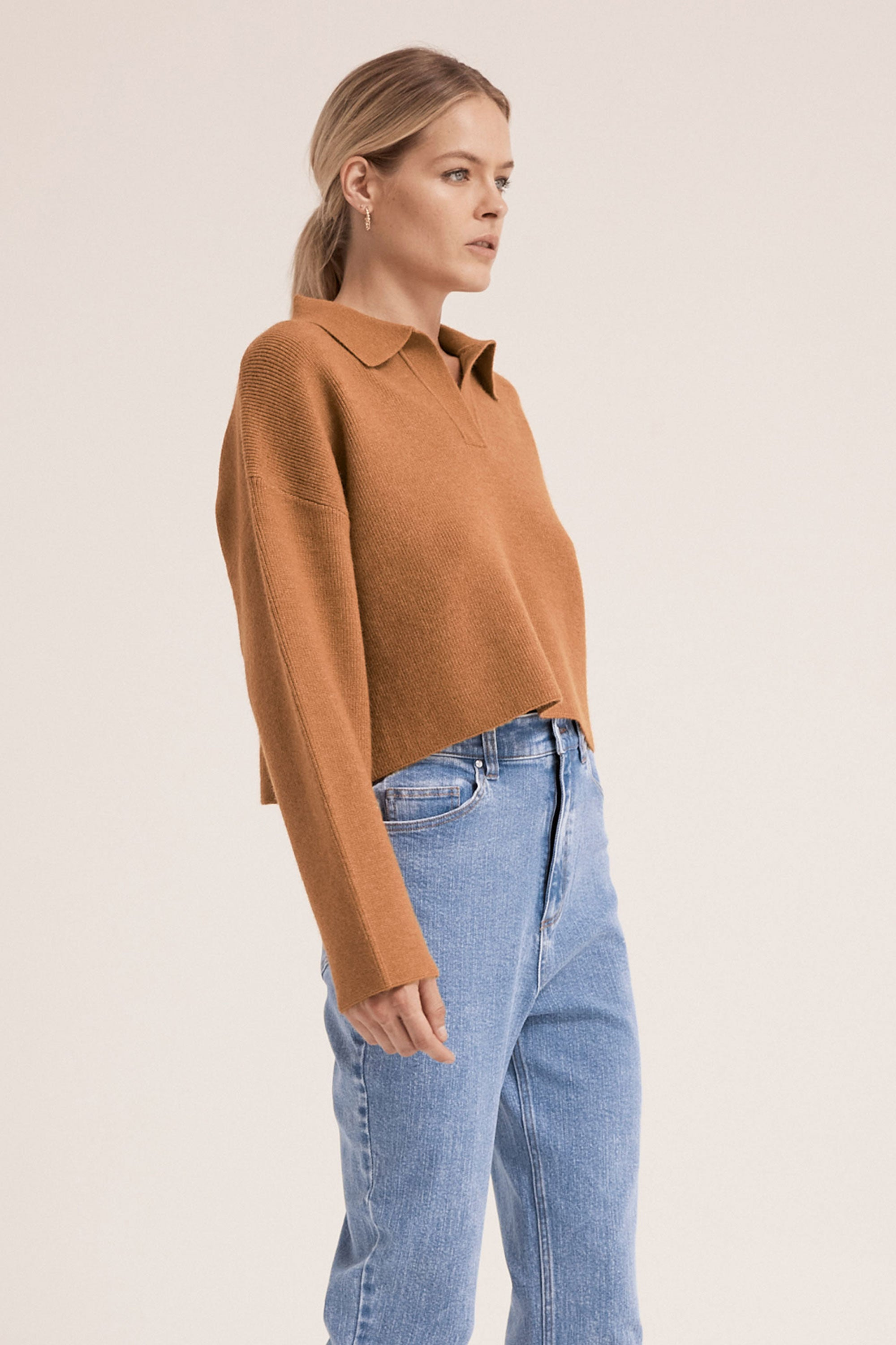 OVERSIZED COLLARED KNIT | CAMEL