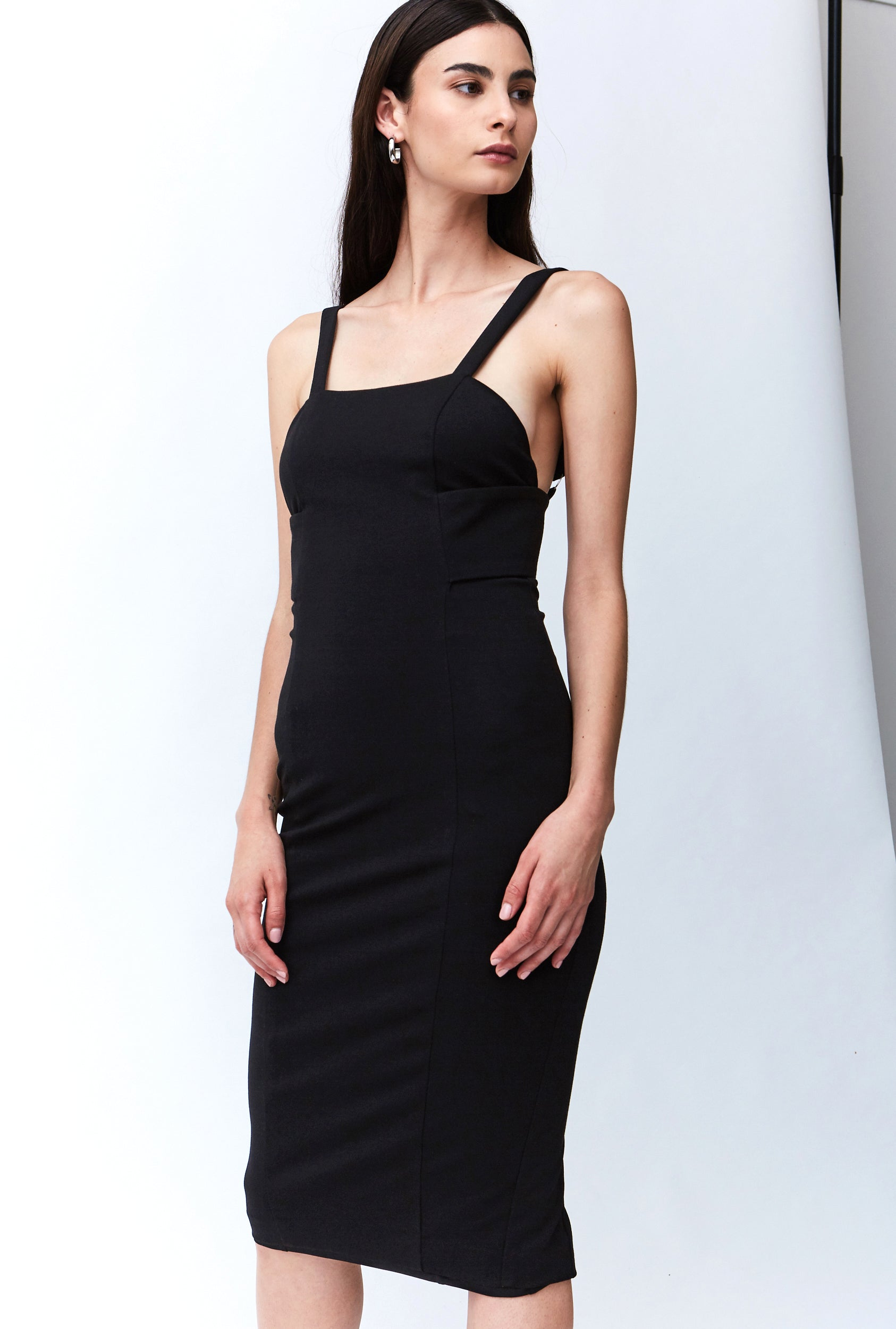 BANDED MIDI DRESS | BLACK