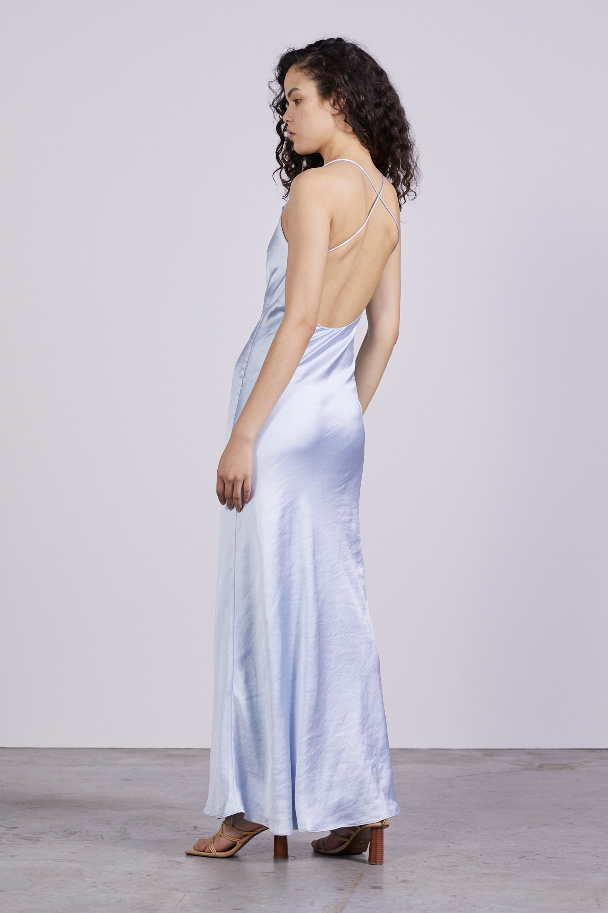 CROSS BACK COWL BIAS MAXI | POWDER BLUE