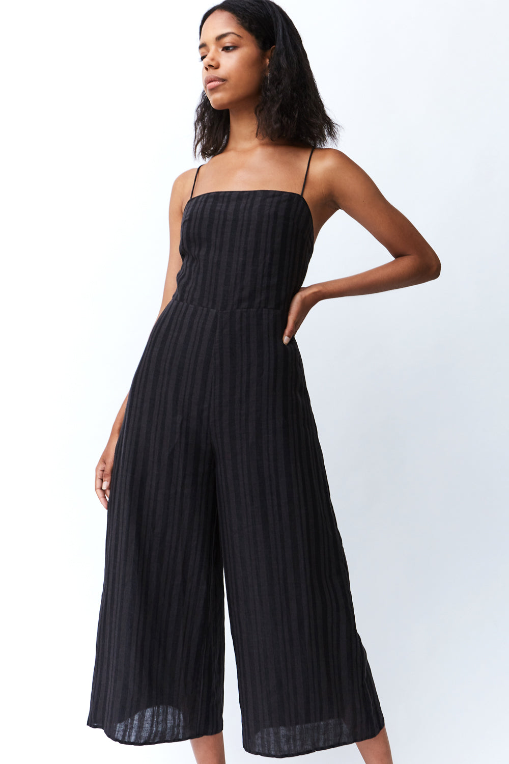 SENRO TIE BACK LINEN JUMPSUIT | CHARCOAL STRIPE