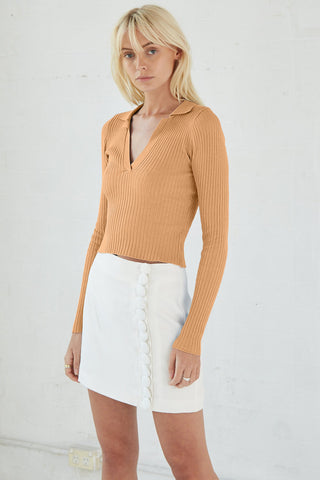 COLLARED KNIT LS TOP | CAMEL