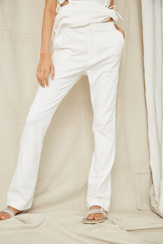 PRESSED FLOWERS RELAXED SLIM TROUSER | OFF WHITE