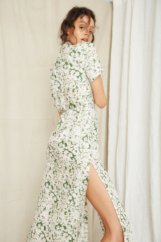 PRESSED FLOWERS SHIRT DRESS | FLORAL