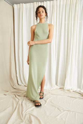 CAST AWAY KNIT MAXI TANK DRESS | PISTACHIO