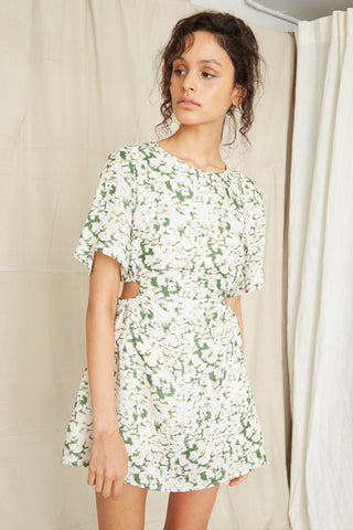 PRESSED FLOWERS DRAW SIDE TEE DRESS | FLORAL