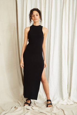 CAST AWAY KNIT MAXI TANK DRESS | BLACK