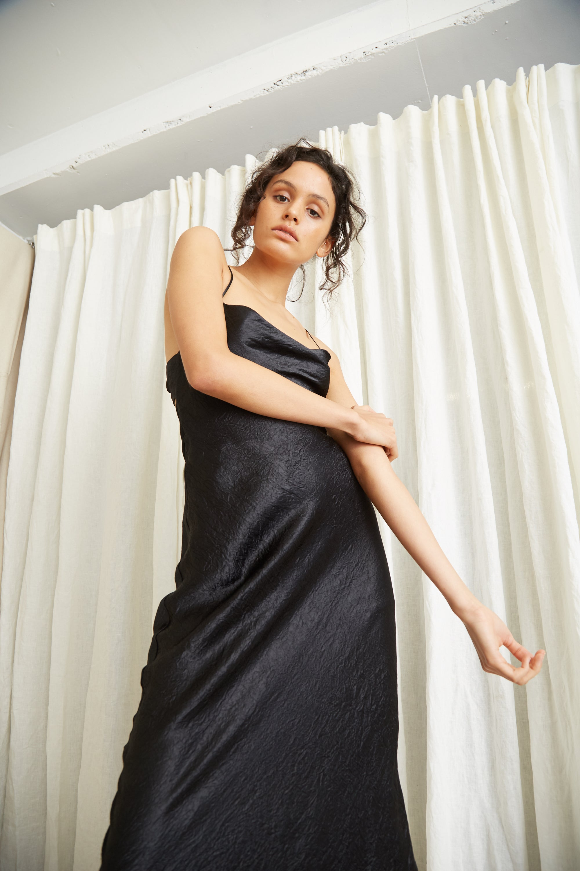 WATERS EDGE BIAS SLIP DRESS | BLACK