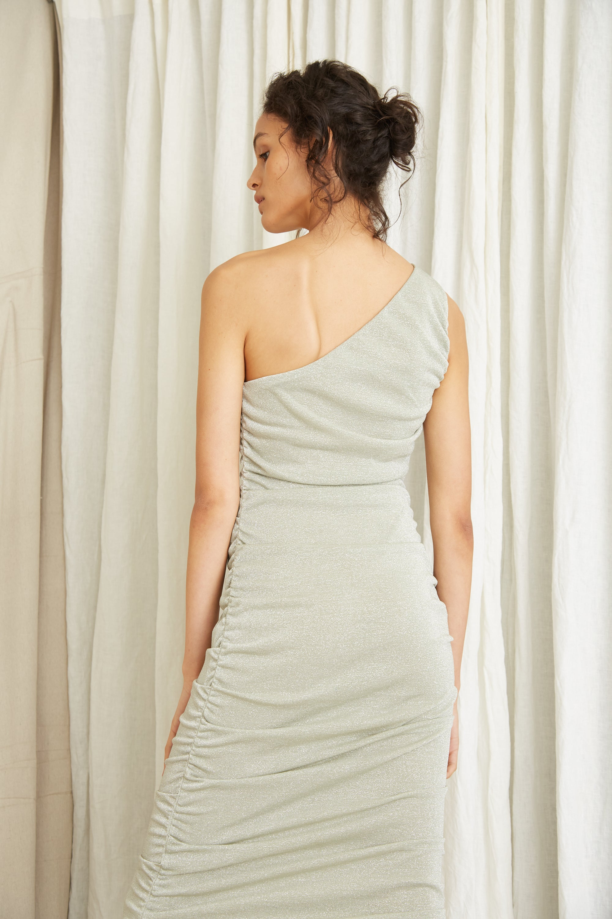 STAR DUST ONE SHOULDER MIDI | SAGE