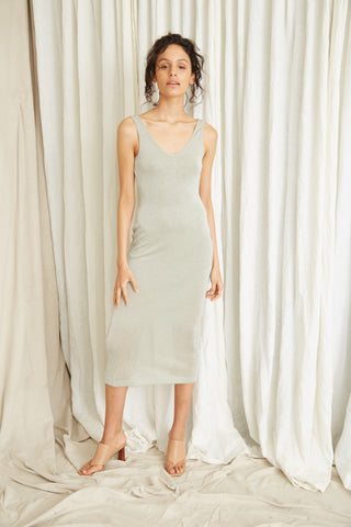 STAR DUST SCOOPED TANK DRESS | SAGE