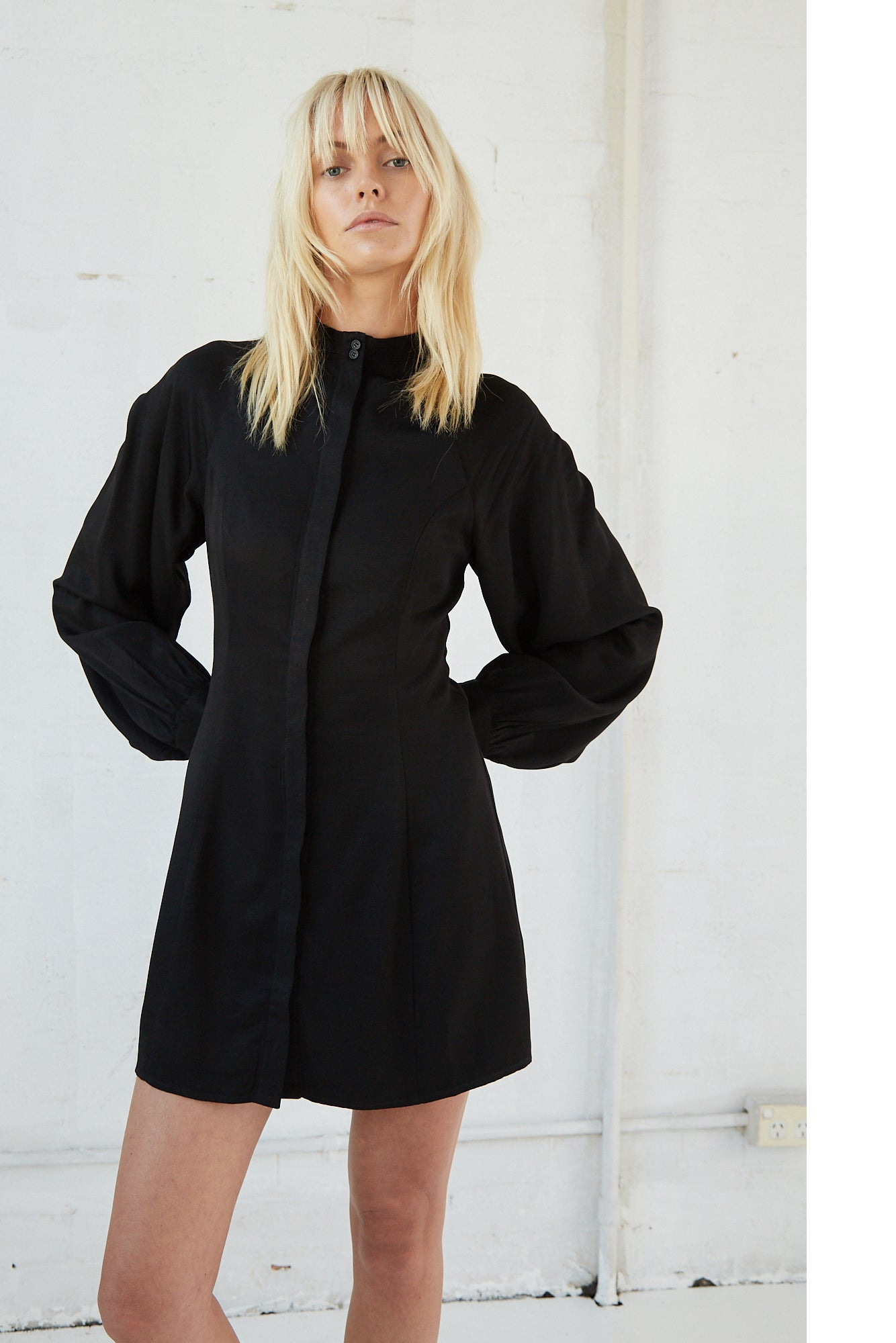 LINGER ON SHIRT DRESS | BLACK