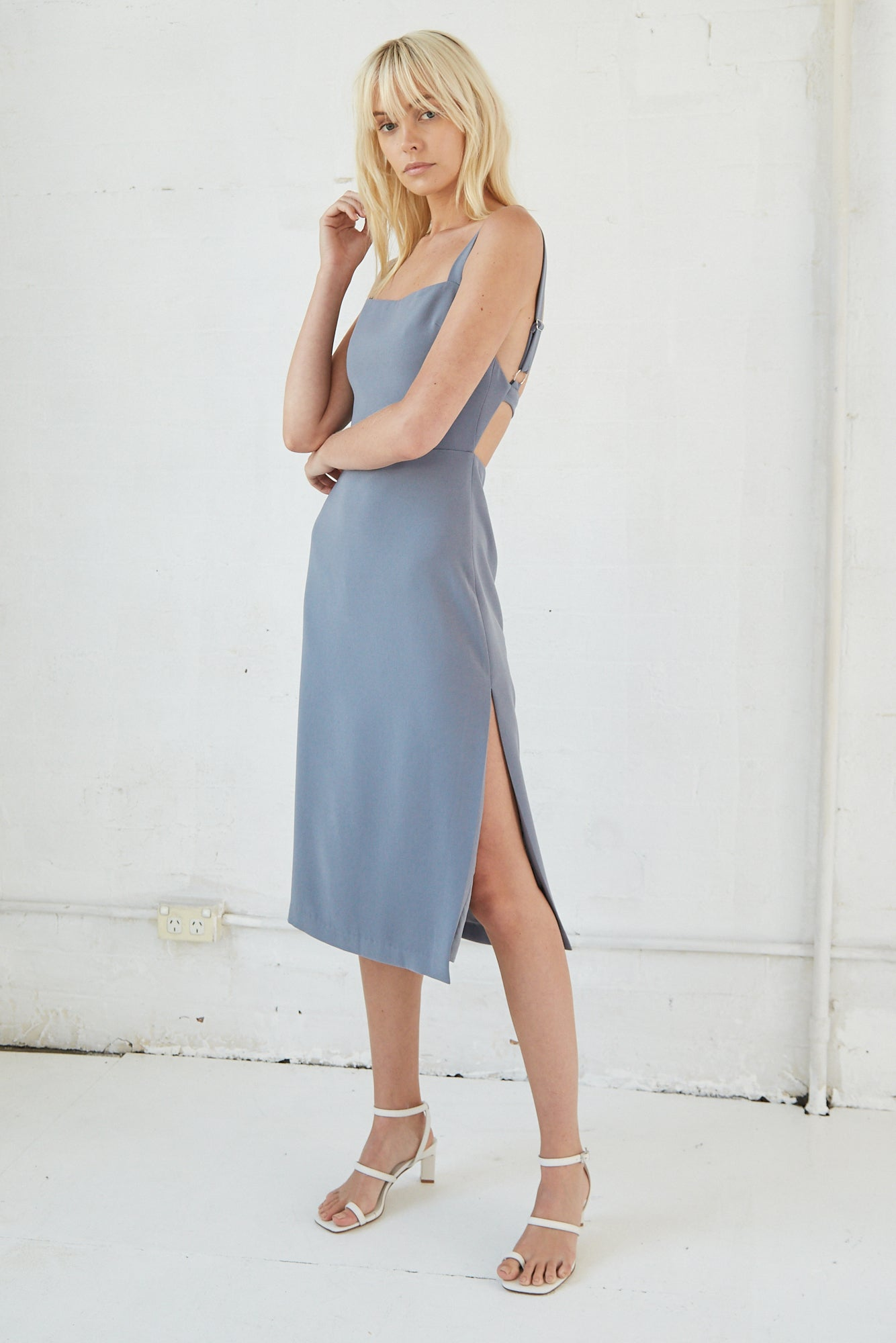 BAND BACK MIDI DRESS | STONE
