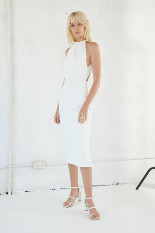 TIE UP NECK MIDI | OFF WHITE