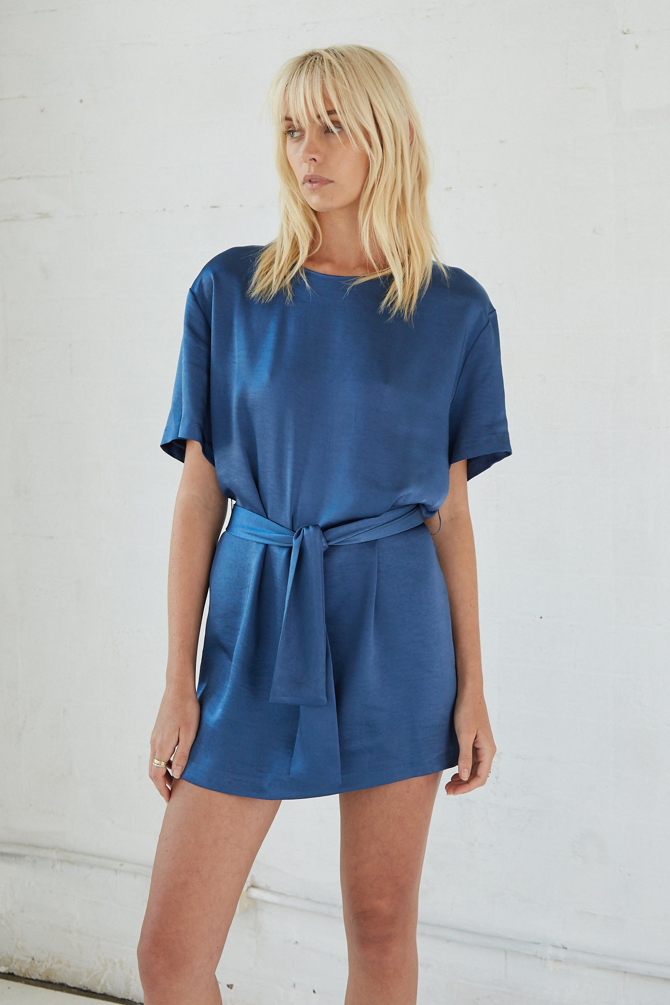 BLOOM RELAXED TEE DRESS | CERULEAN