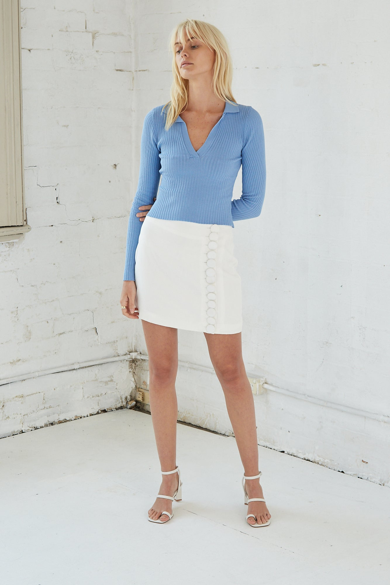 COLLARED KNIT LS TOP | POWDER BLUE